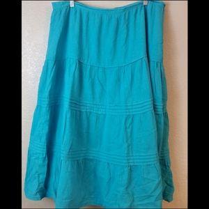 Valerie Stevens Blue Pleated Full Midi Boho Skirt